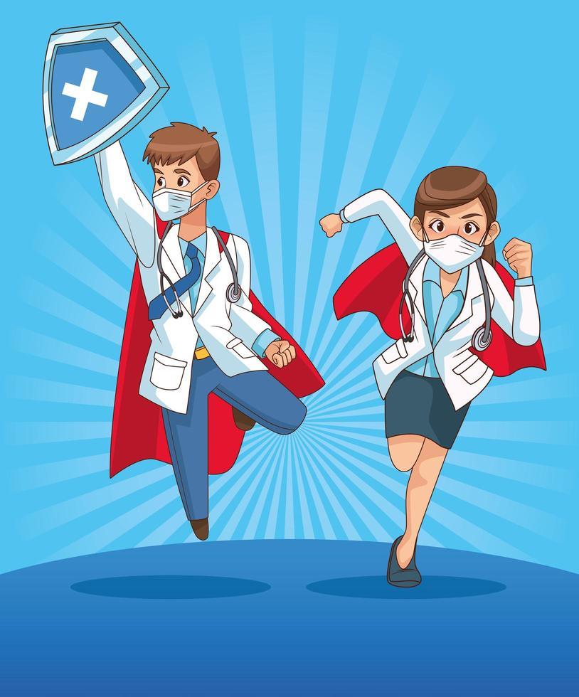 super läkare par komiska karaktärer vektor