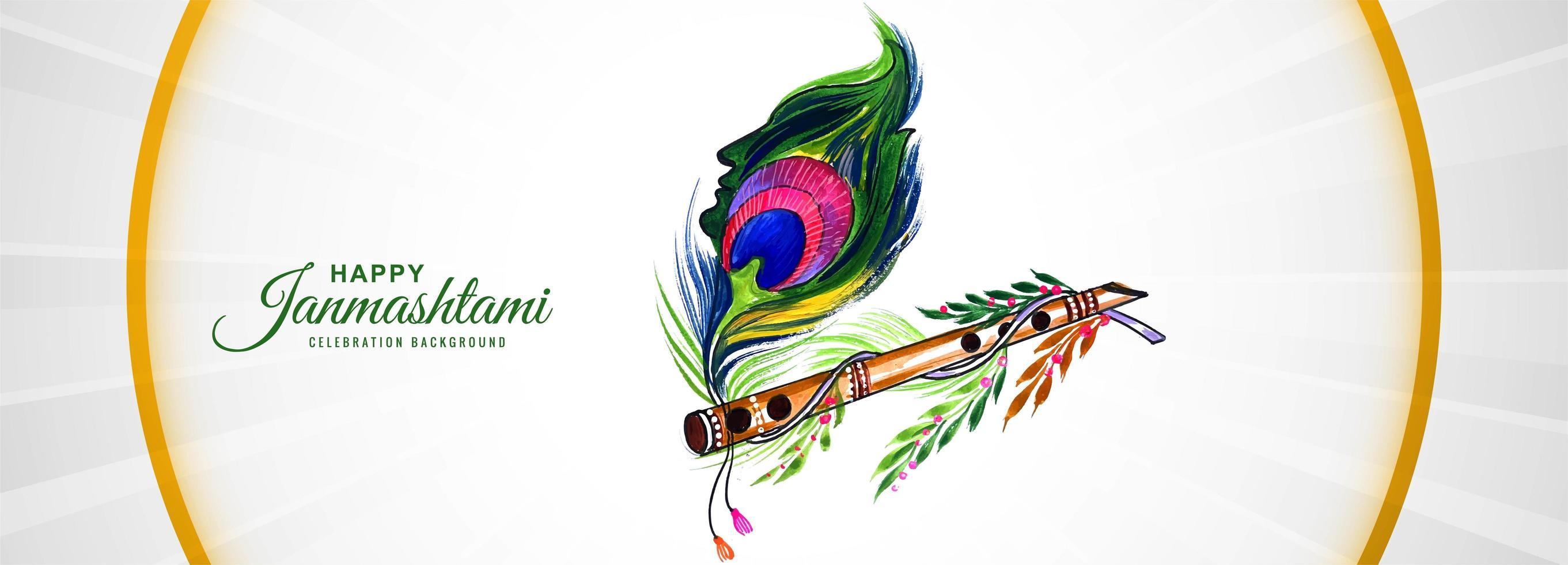 shree krishna janmashtami festival banner bakgrund vektor