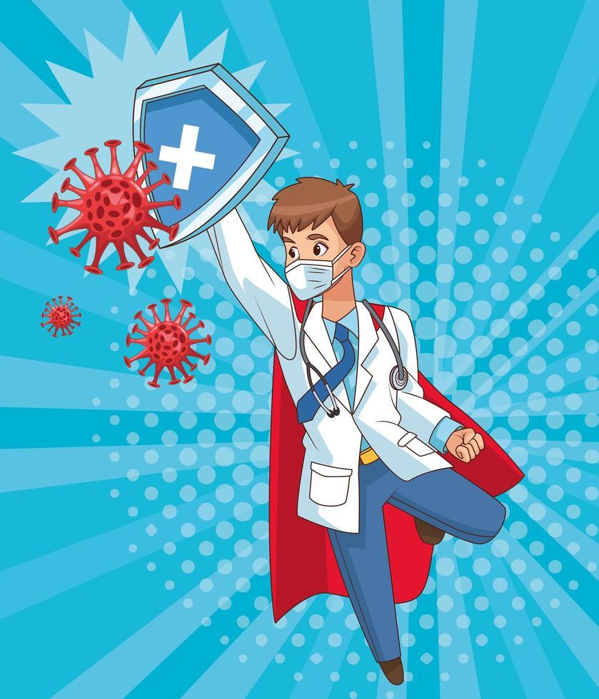 super läkare som flyger med sköld vs covid 19 vektor