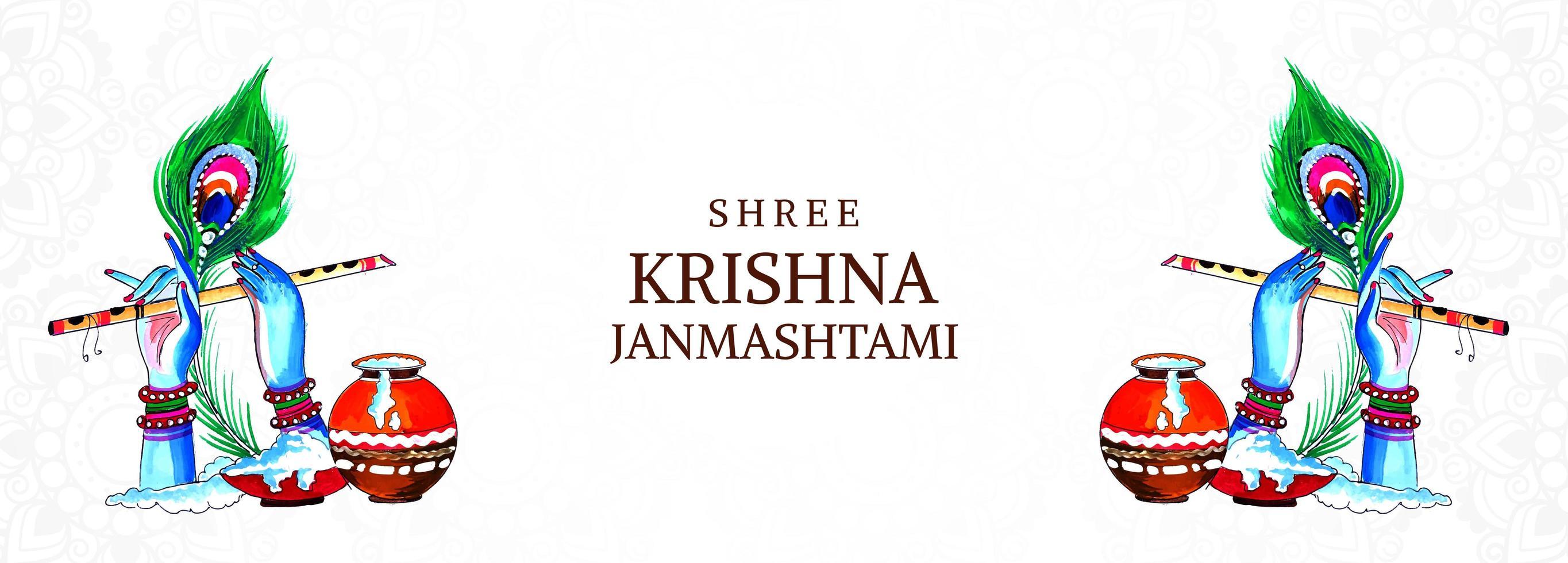 festival lyckliga krishna janmashtami händer och flöjt banner vektor