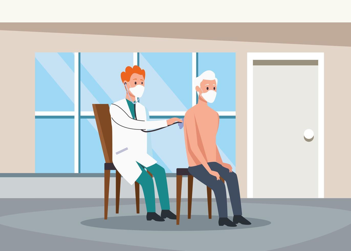 läkare undersöker äldre personers karaktärer vektor