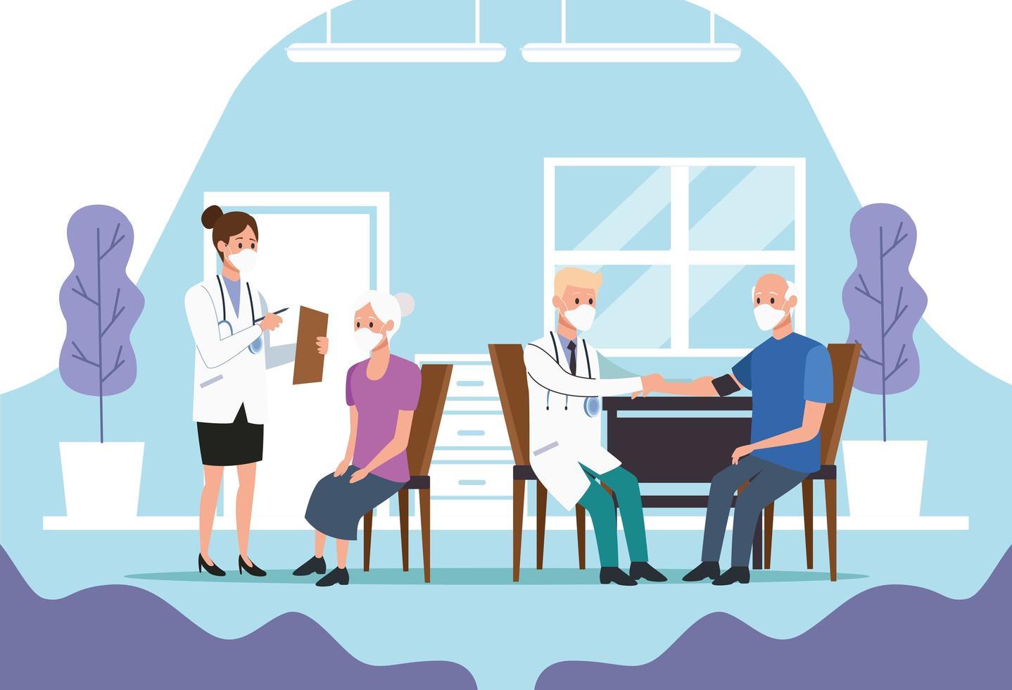 medicinsk personal som skyddar äldre vektor
