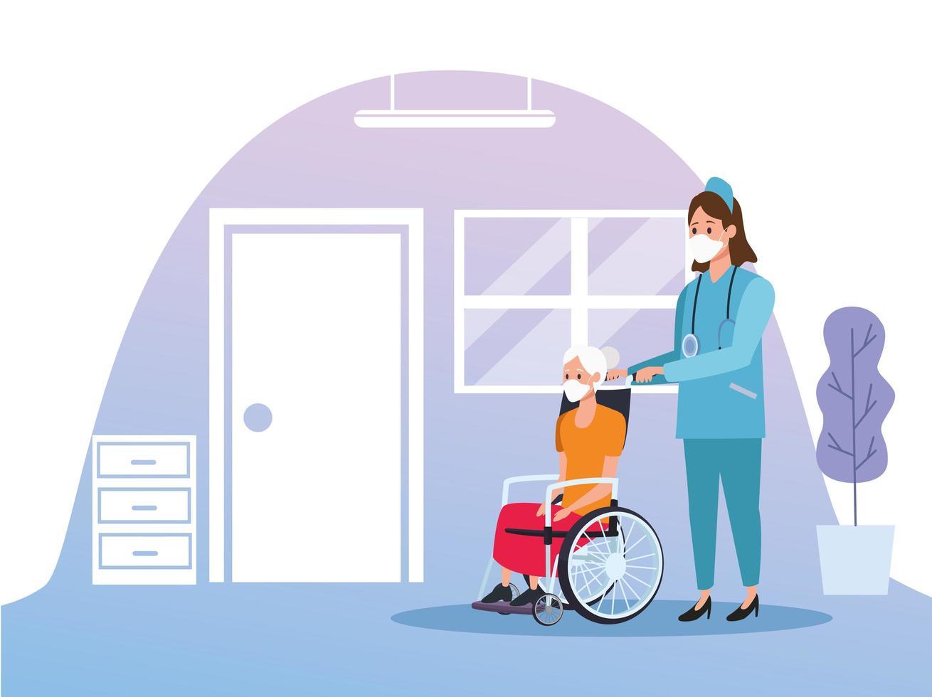 sjuksköterska som skyddar äldre kvinna vektor