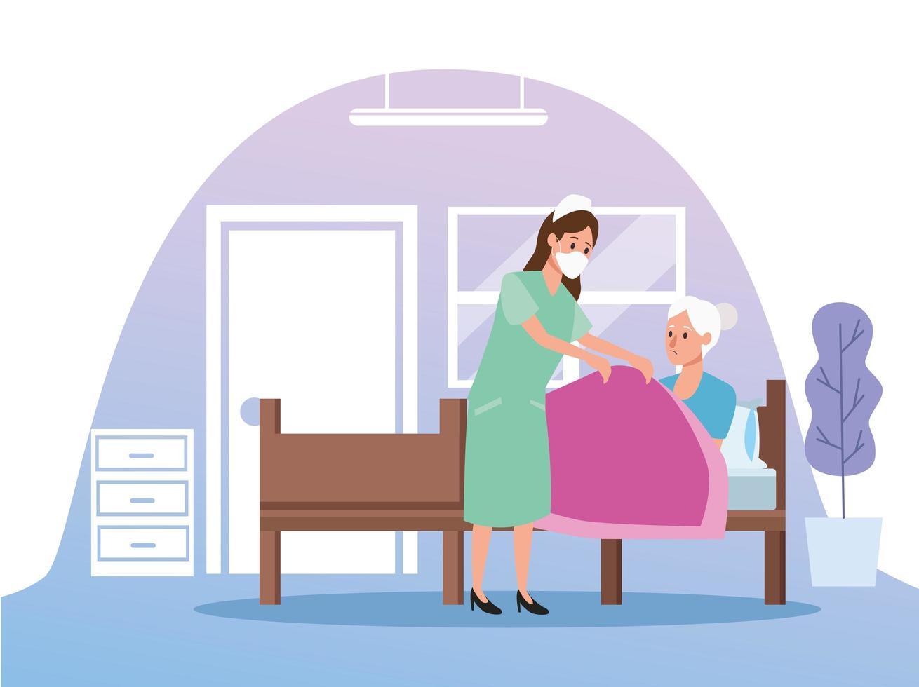 sjuksköterska skyddar äldre kvinna person karaktärer vektor