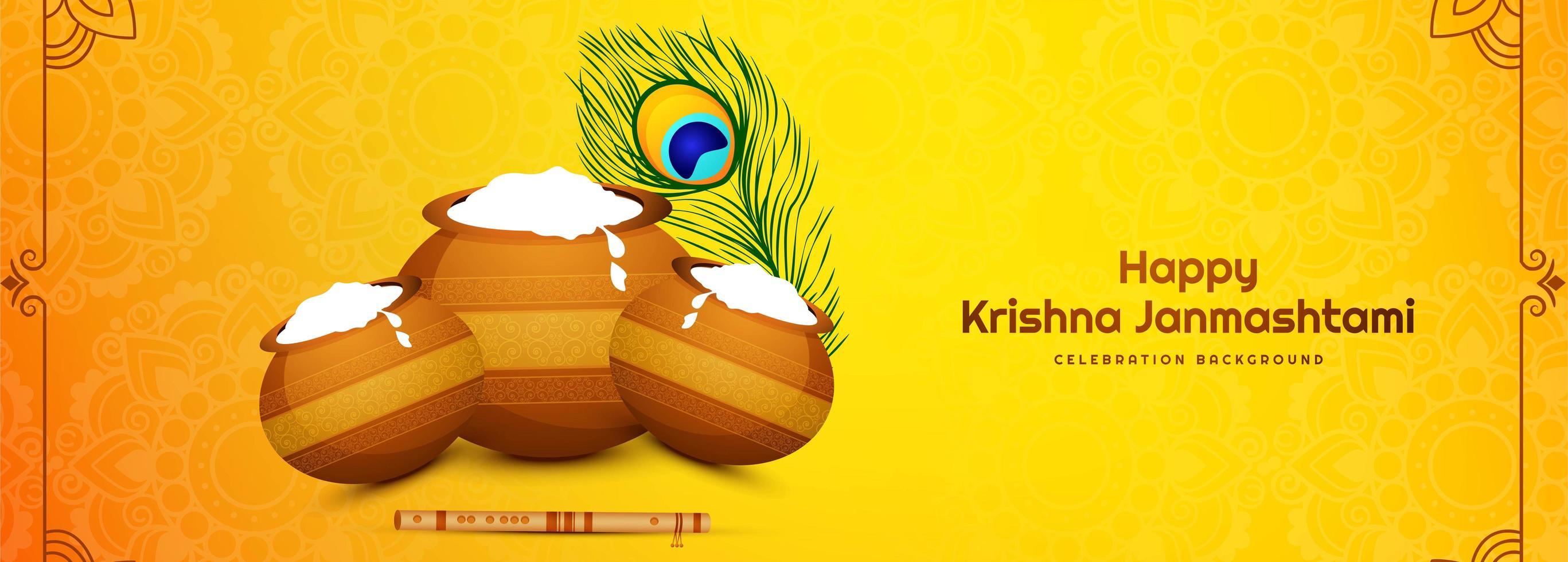 glad janmashtami festival kort banner med krukor vektor