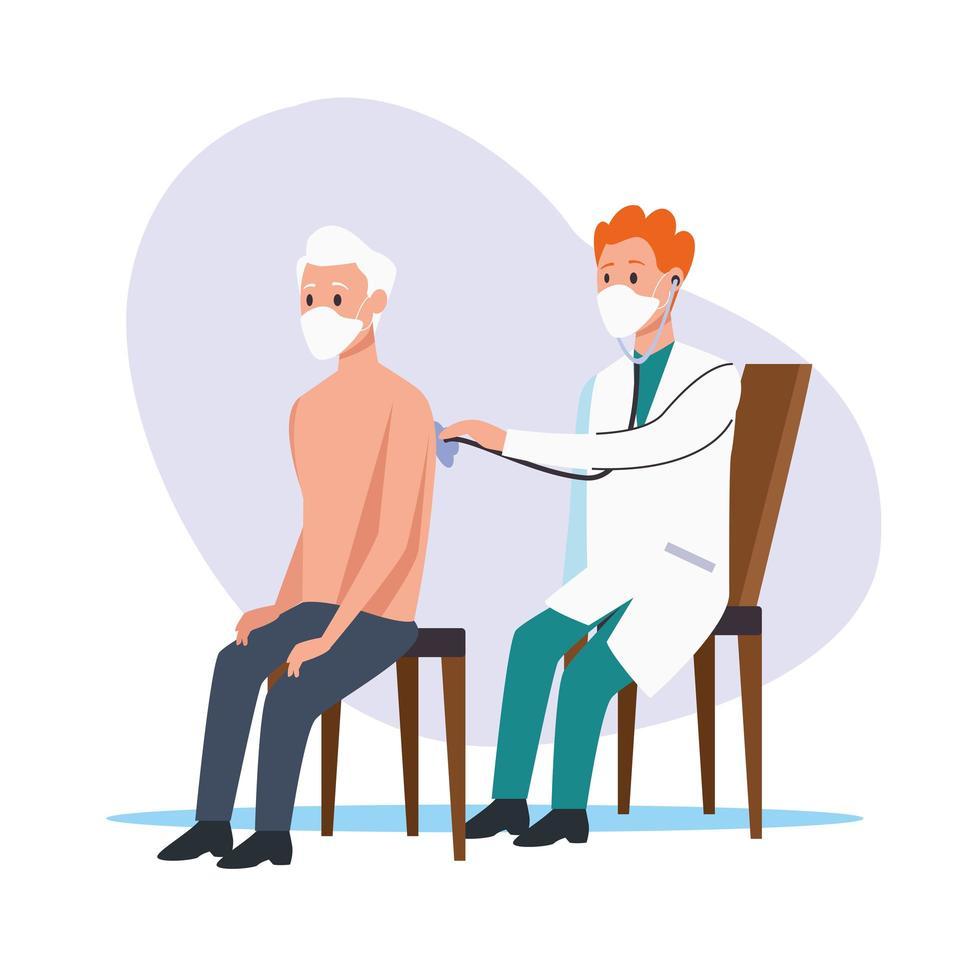 läkare undersöker äldre man med skyddsmasker vektor