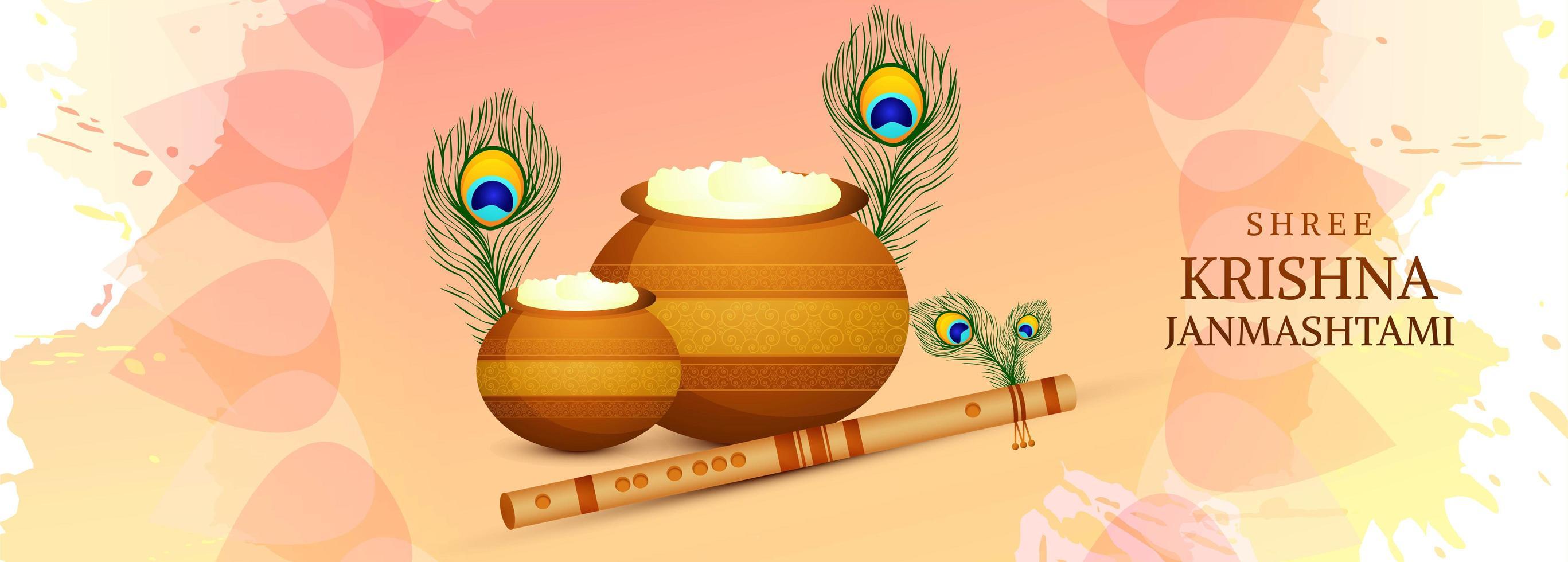 lyckligt krishna janmashtami-kort med fjädrar och krukor vektor