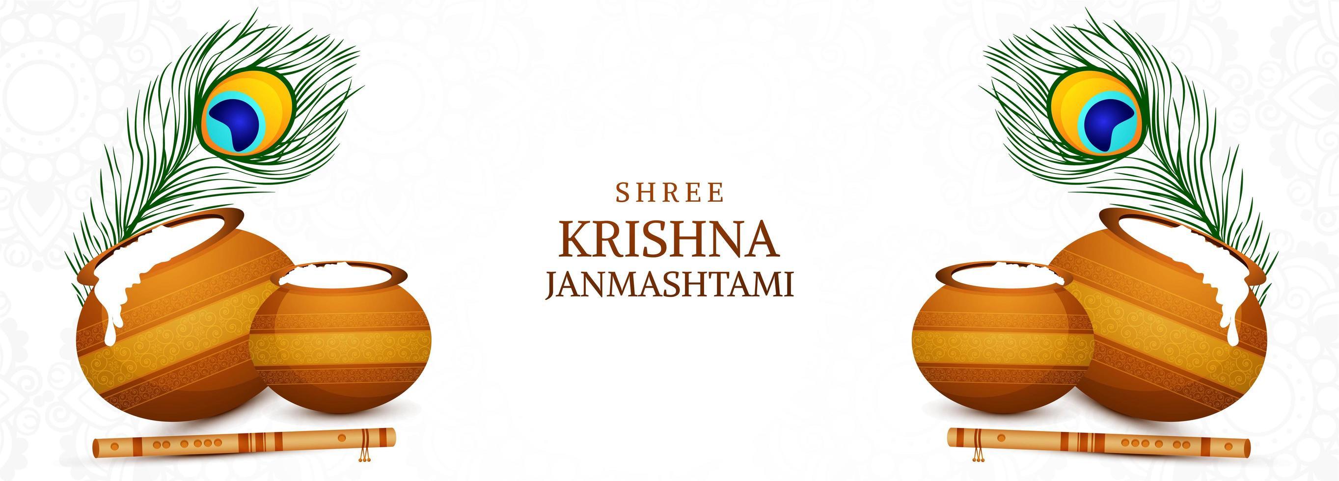 krishna janmashtami festival kort med gröt krukor banner vektor