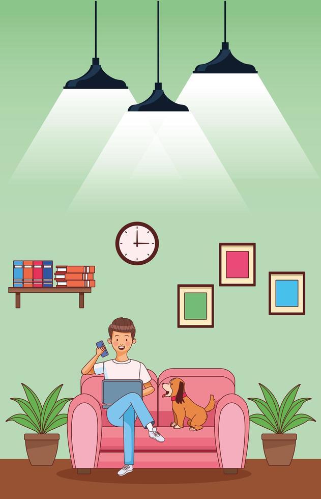 arbeta hemma ung man på soffan vektor