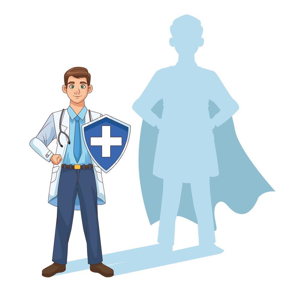 Super Doktor mit Schild und Schatten vektor