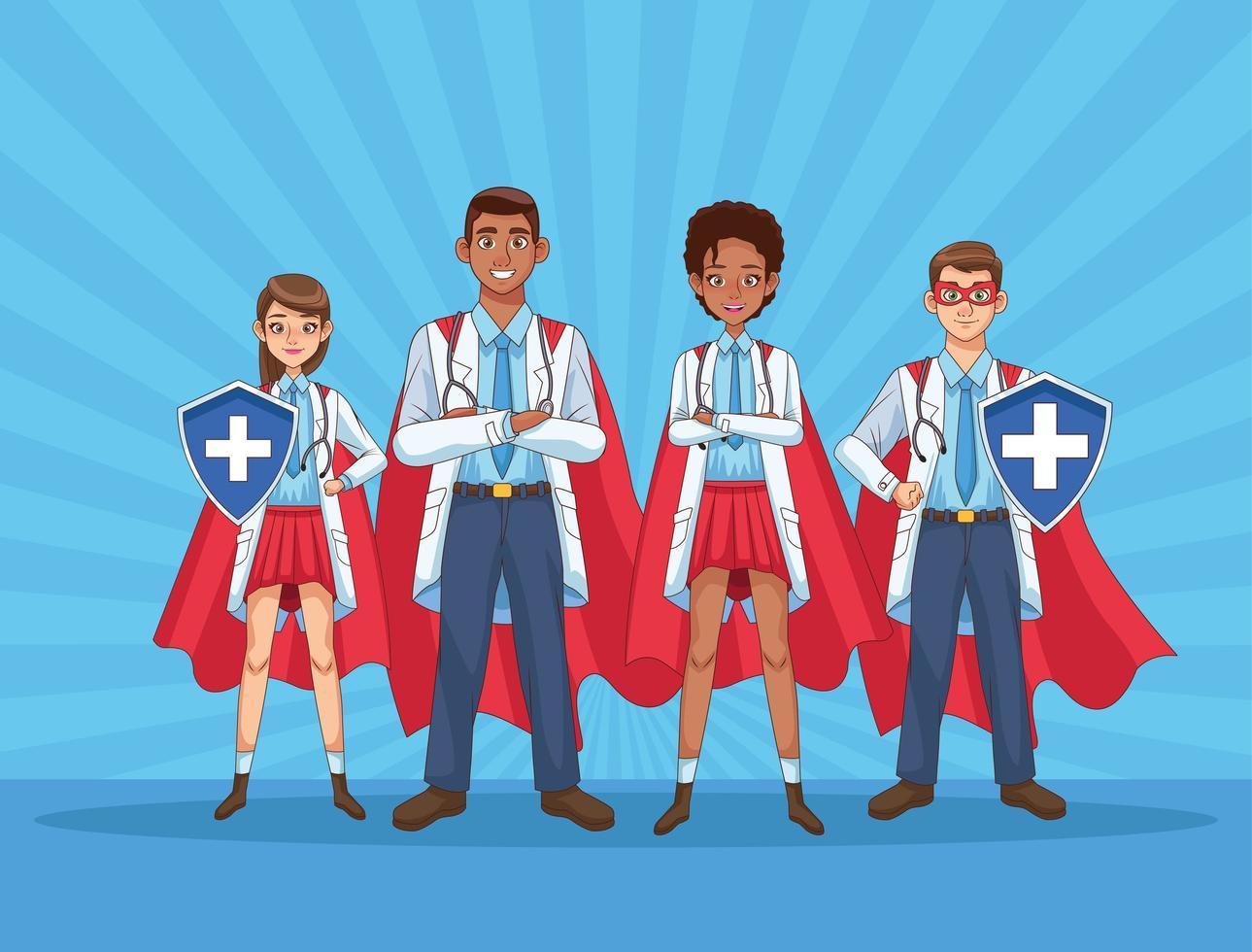 super läkare personal med hjält kappor och sköld vektor