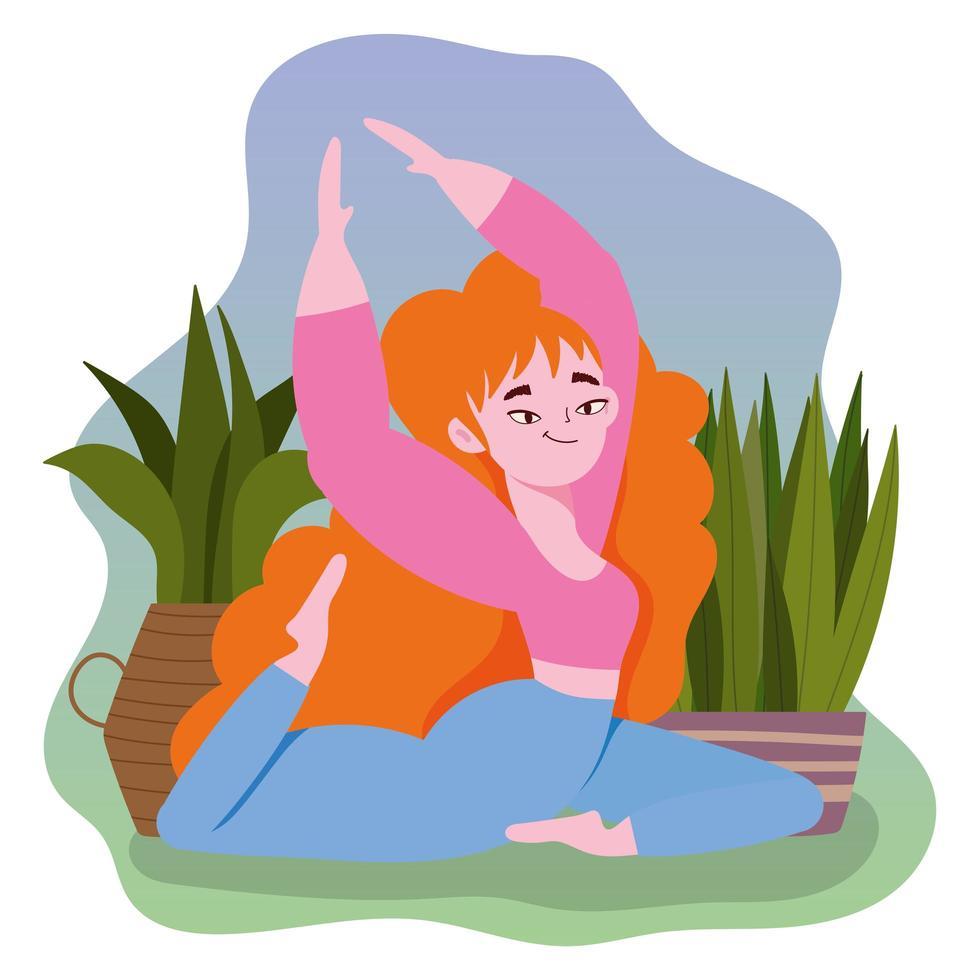 Frau praktiziert Yoga vektor