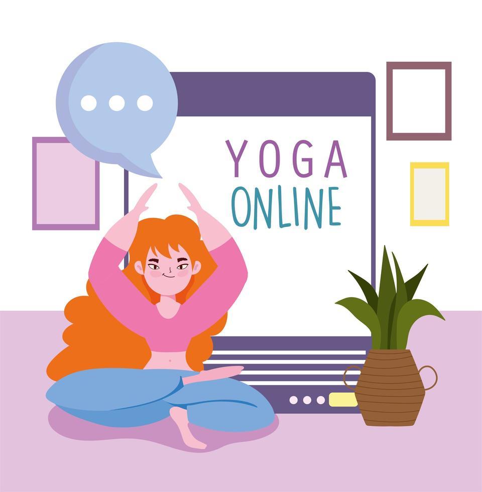 online yoga träning vektor