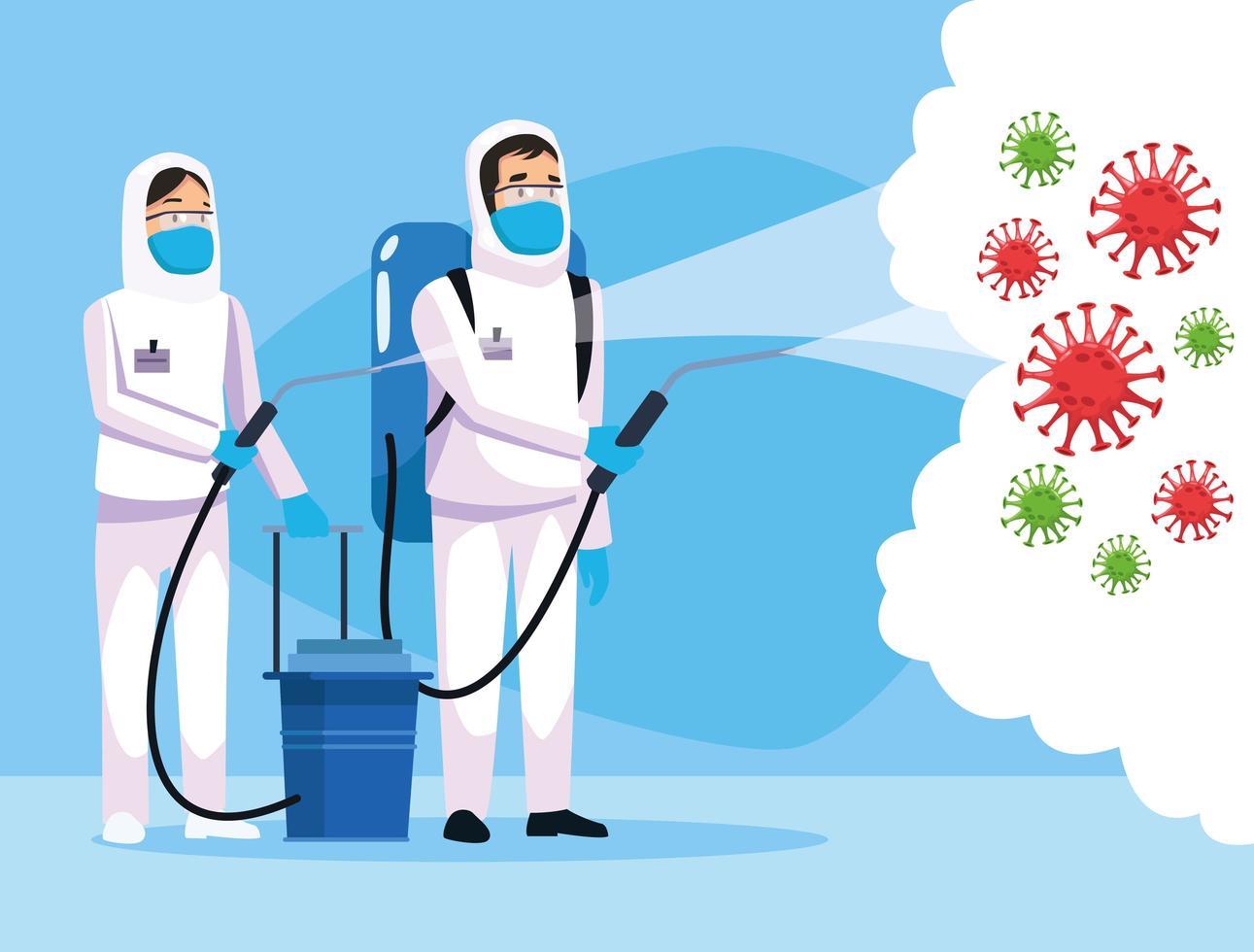 Personen mit Biohazard-Reinigung mit Sprühgerät gegen Coronavirus vektor