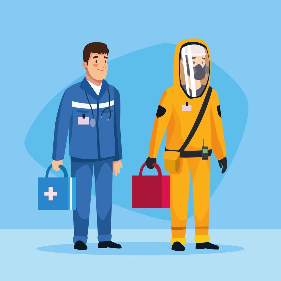 biohazard rengöringsperson och paramedic karaktär vektor