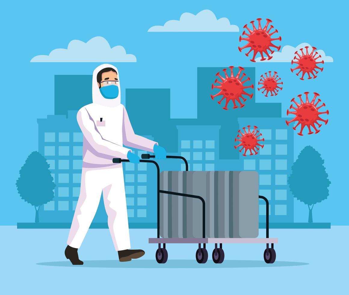 biohazard rengöringsperson med covid 19 partiklar vektor