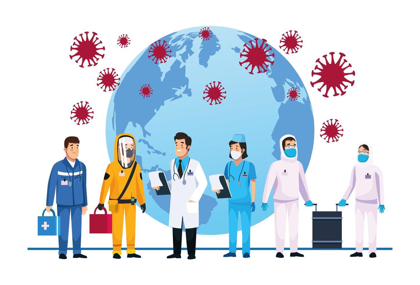 medizinisches Personal, das sich mit Covid 19 auf Erden befasst vektor