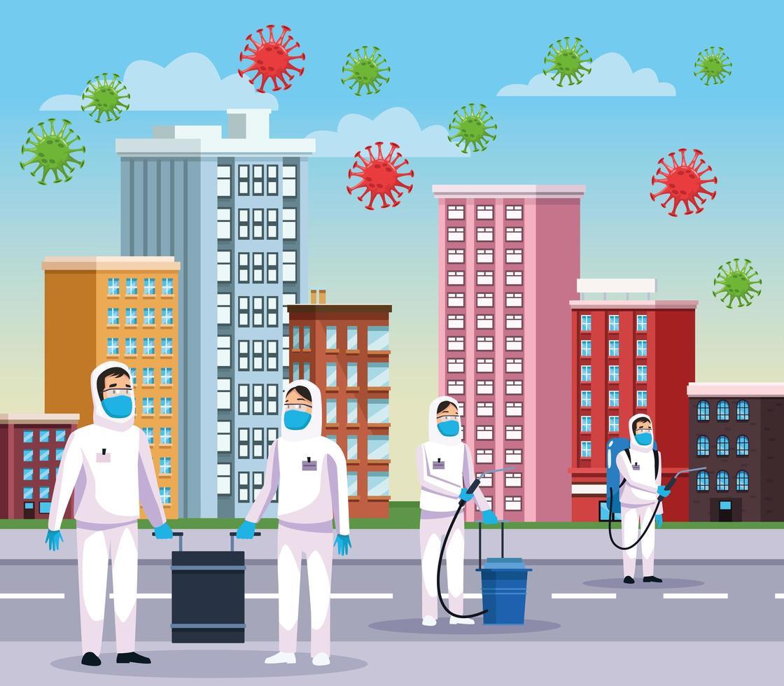rengöringspersoner med biohazard och covid 19 vektor
