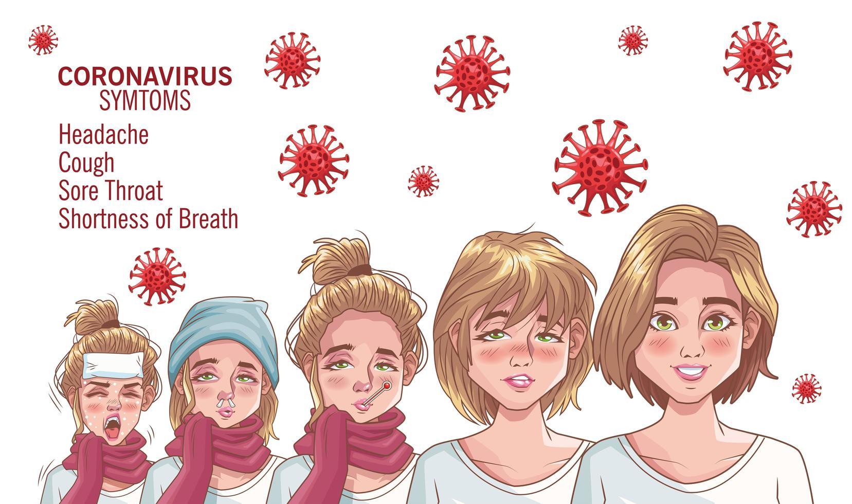 coronavirus infographic med en sjuk grupp av kvinnor vektor