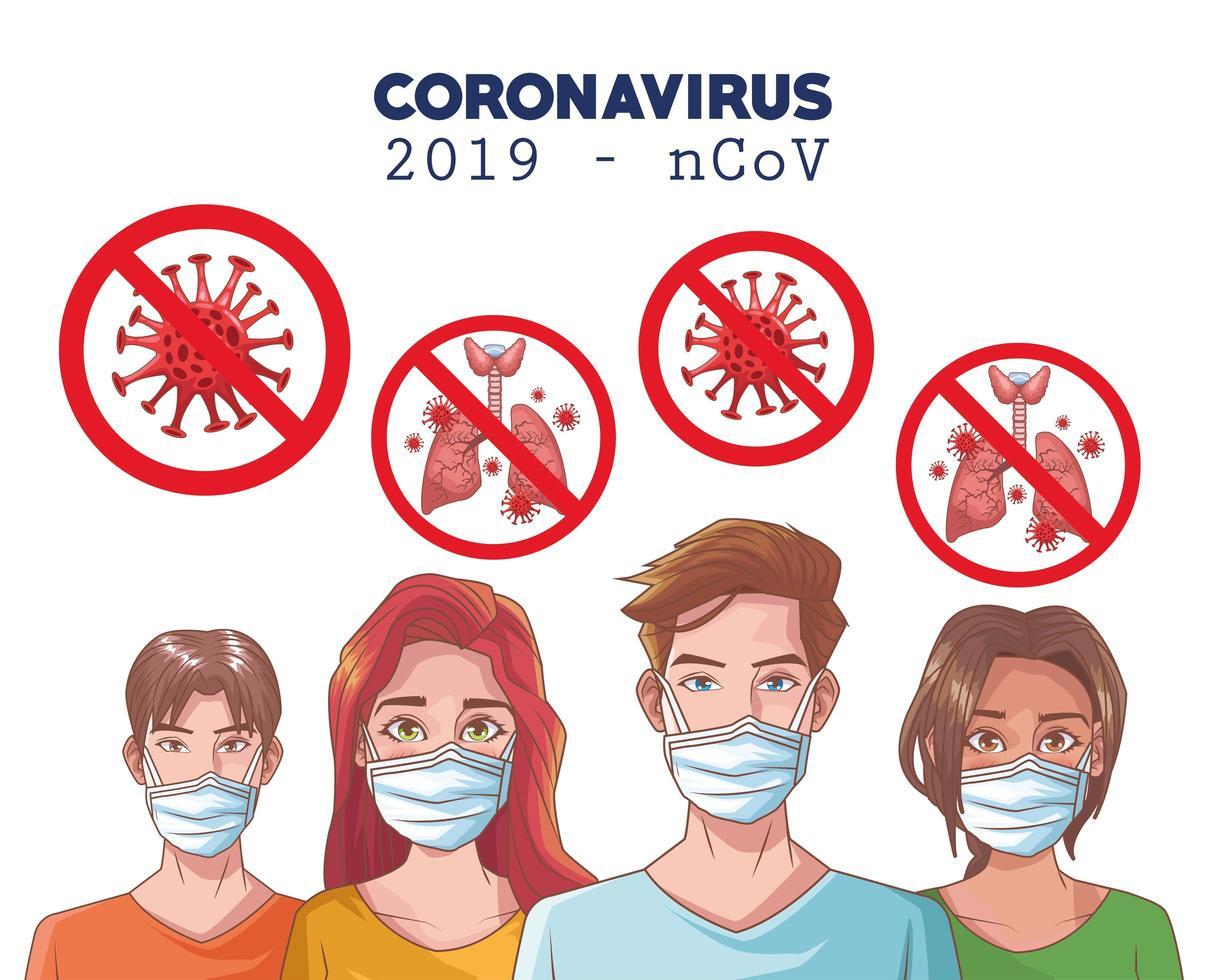 Coronavirus-Infografik mit maskierten Personen vektor