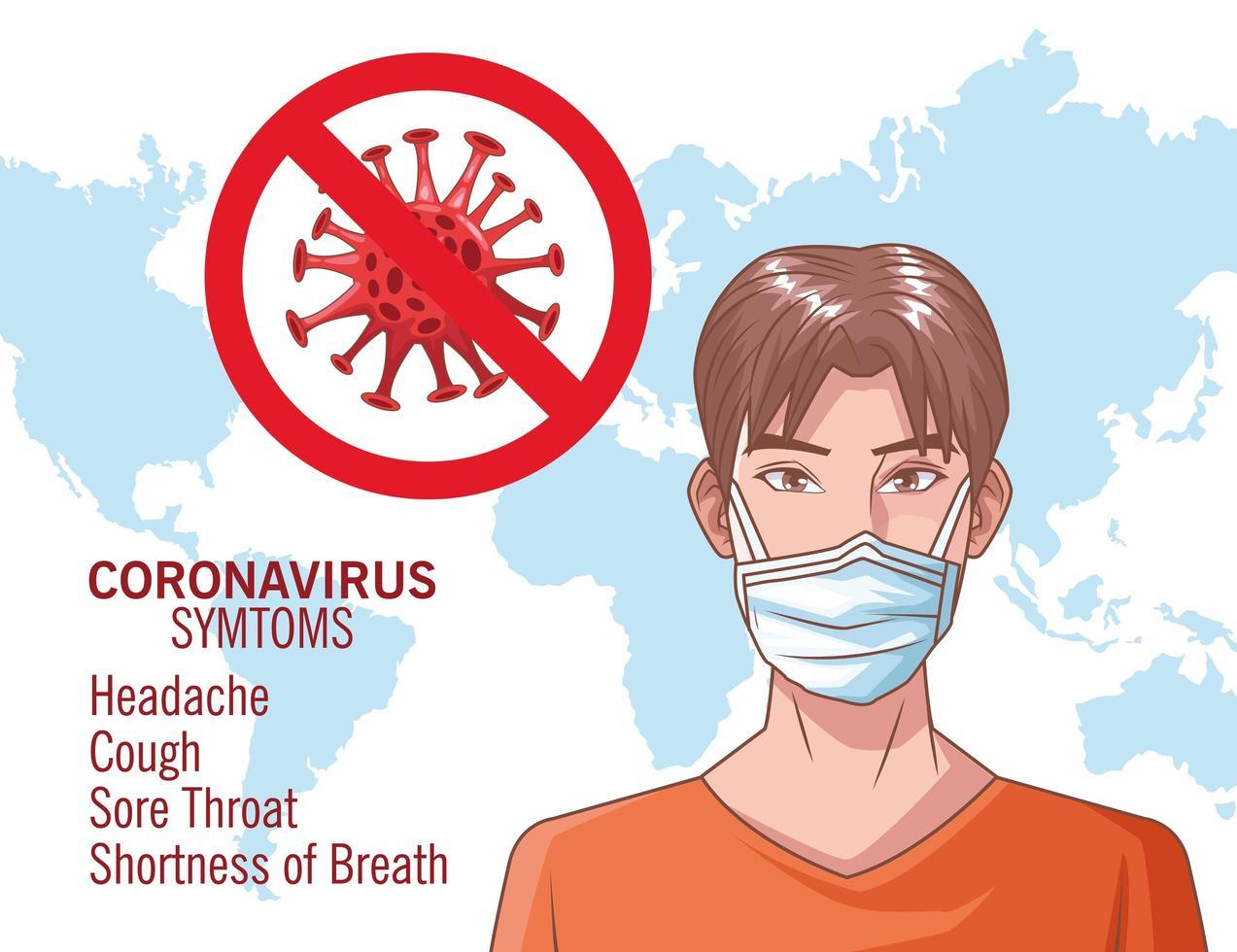 Coronavirus-Infografik mit jungem Mann unter Verwendung der Maske vektor