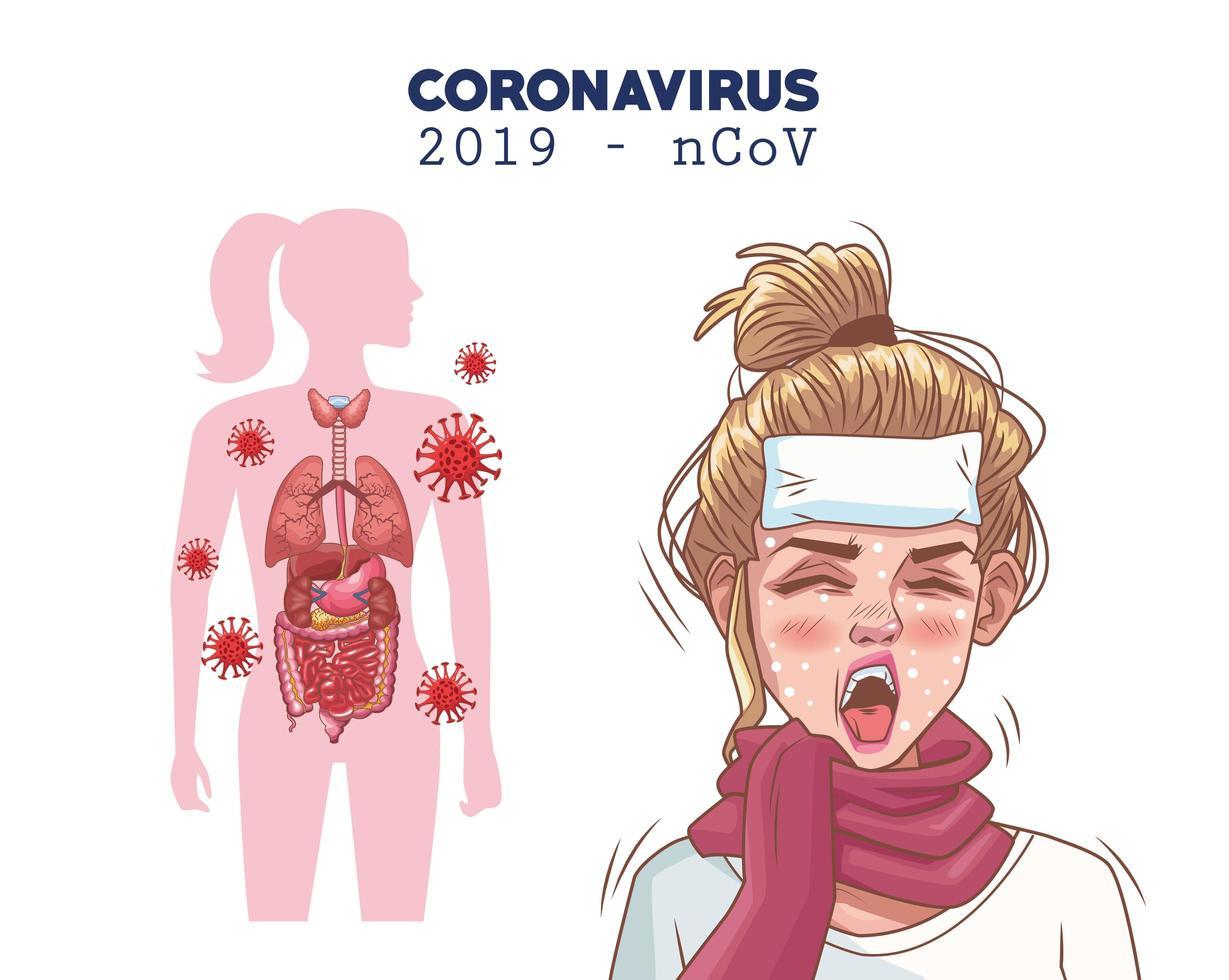 coronavirus infographic med sjuk ung kvinna karaktär vektor