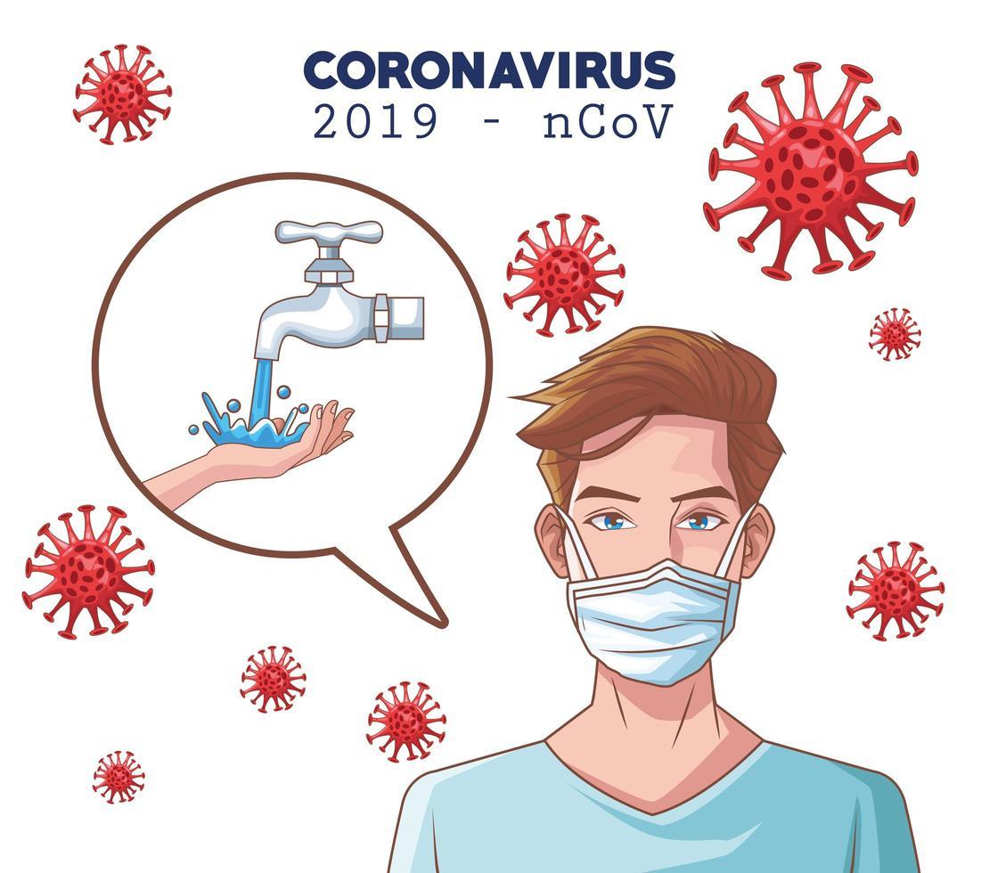 Coronavirus-Infografik mit Mann unter Verwendung einer medizinischen Maske vektor