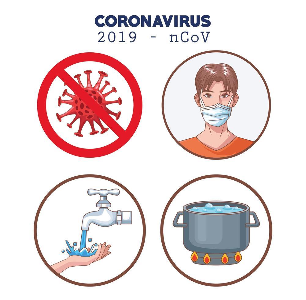 Coronavirus-Infografik mit Symbolen für Präventionssätze vektor