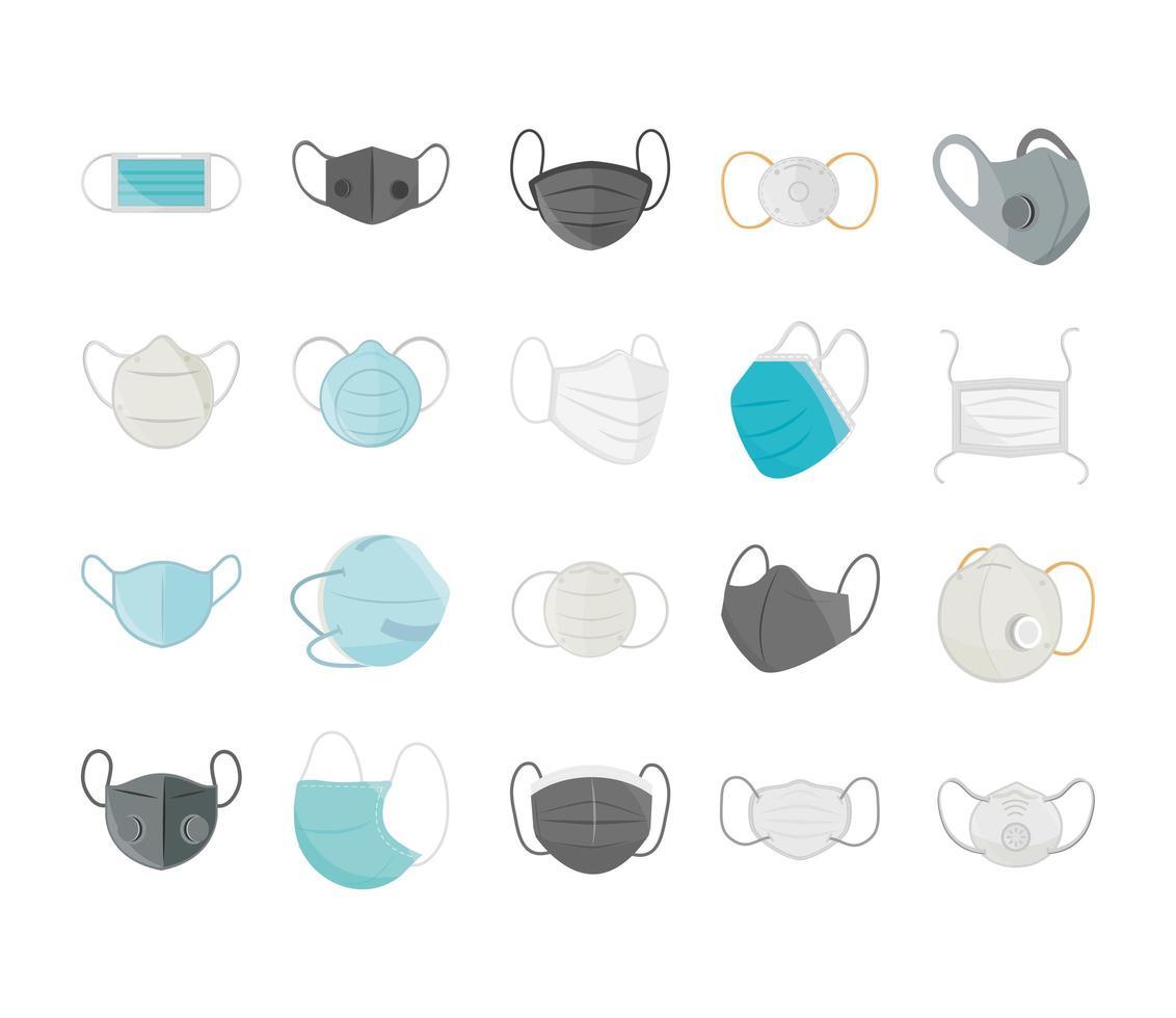 Gesichtsmasken großes Icon-Set vektor