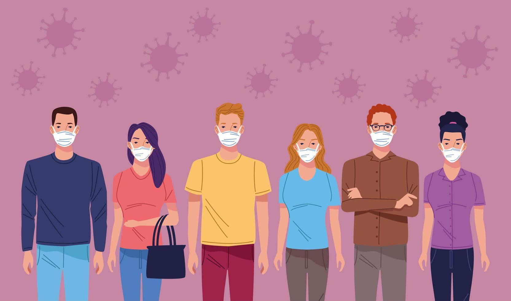 grupp människor som använder ansiktsmask för att skydda mot coronavirus vektor