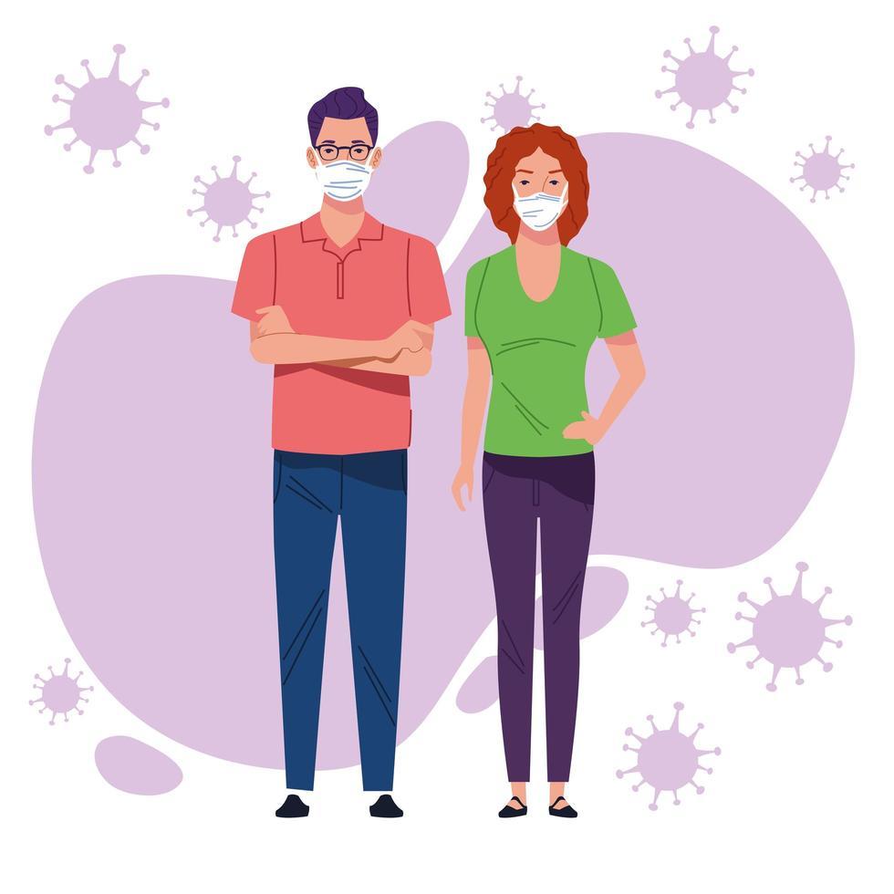 ungt par använder ansiktsmask mot covid 19 vektor