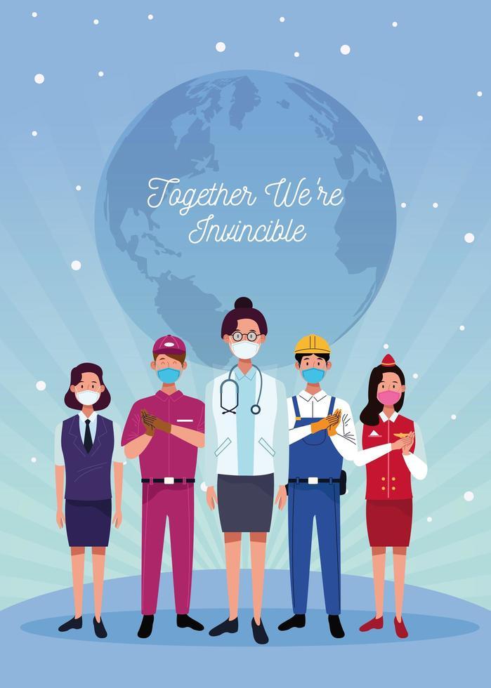 grupp arbetare som bär ansiktsmasker och optimistiskt budskap vektor