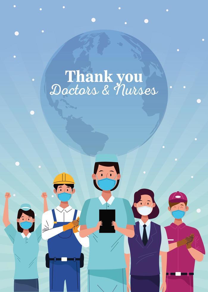 Gruppe von Arbeitern, die medizinische Masken mit Dankesnachricht verwenden vektor