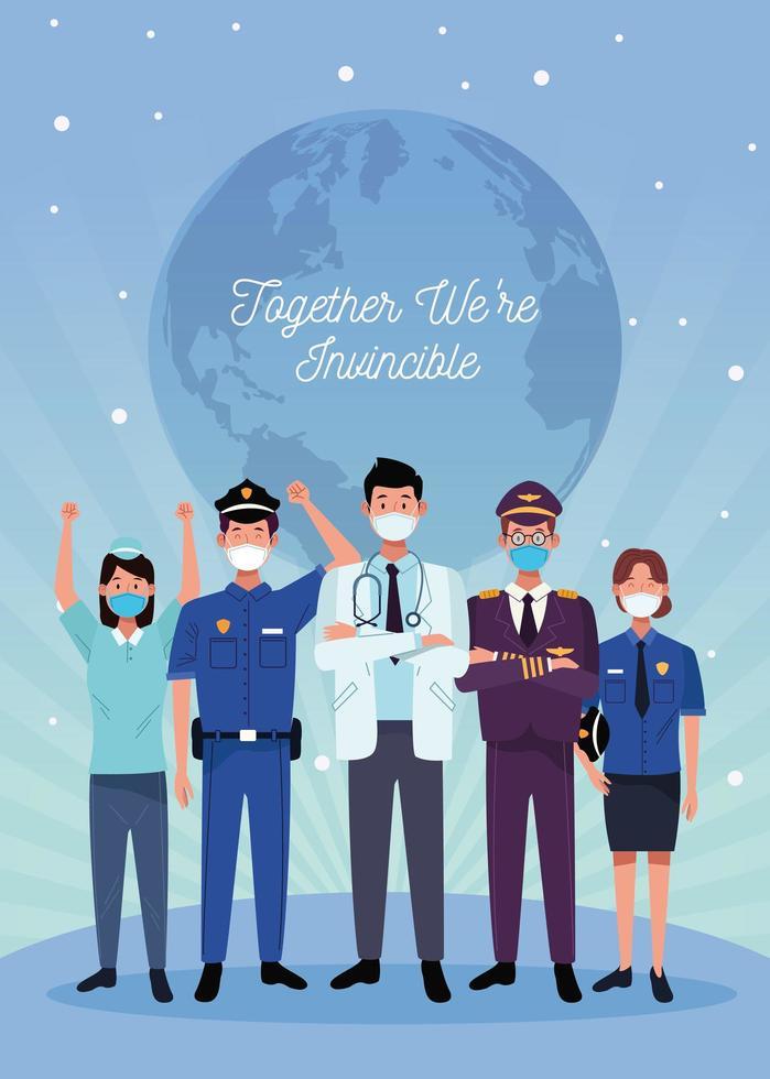 Gruppe von Arbeitern, die medizinische Gesichtsmasken und Nachrichten verwenden vektor