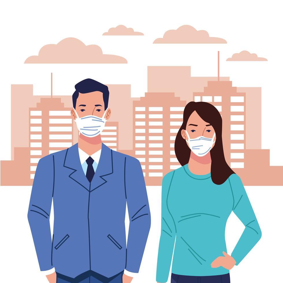 par som använder ansiktsmask för coronavirus vektor