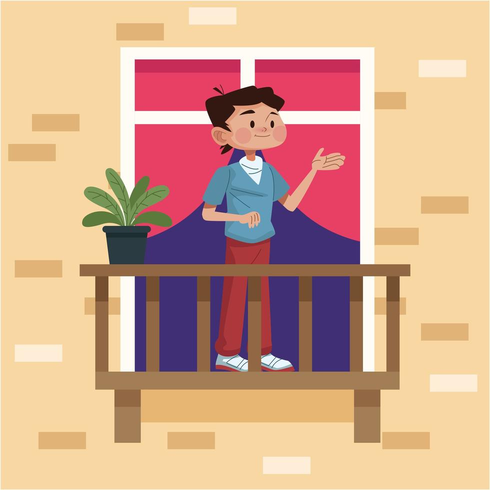 ung man i sin lägenhet balkong vektor