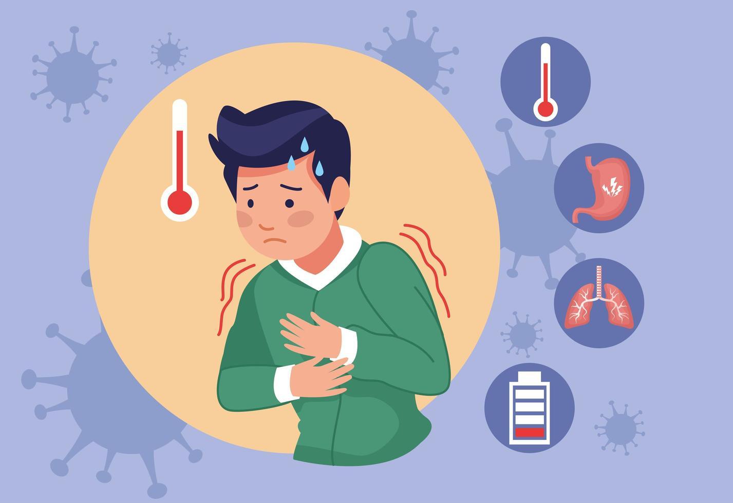 junger Mann mit Fieber wegen Covid-19-Krankheit vektor