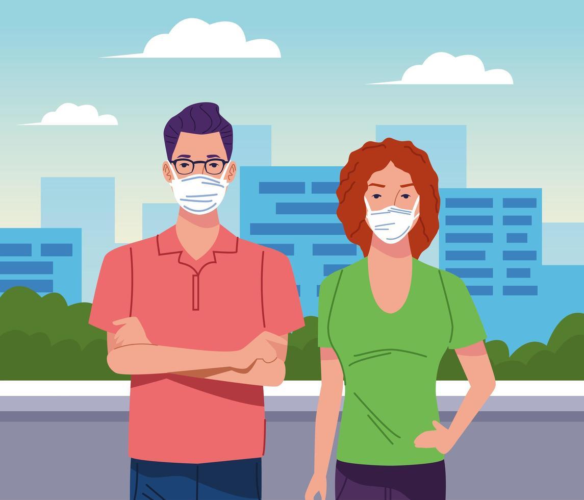 par som bär ansiktsmask för coronavirus vektor