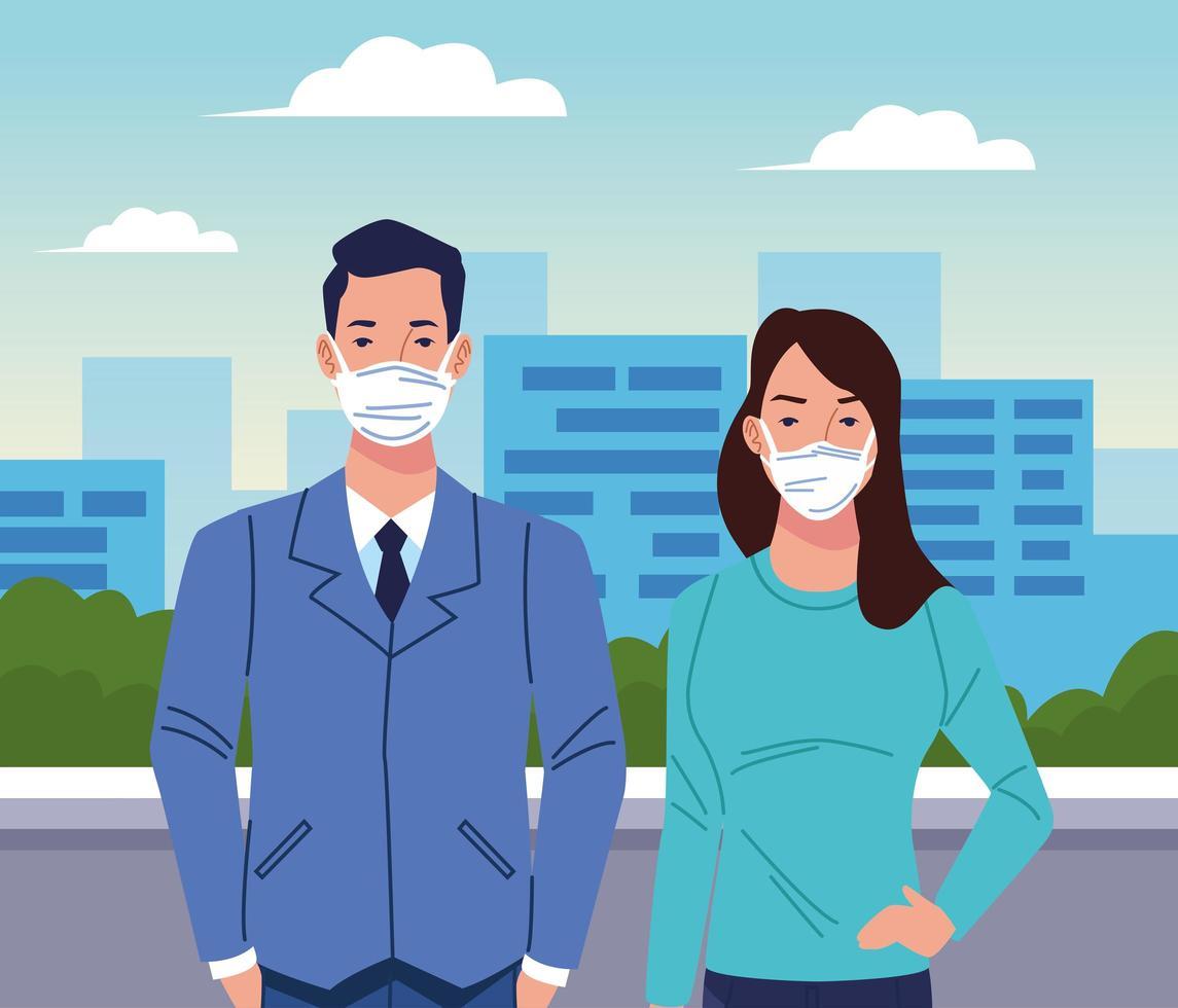 Paar mit Gesichtsmaske für Coronavirus vektor