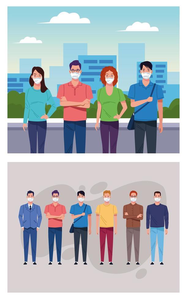 Gruppe von Menschen mit medizinischer Maske für Coronavirus vektor