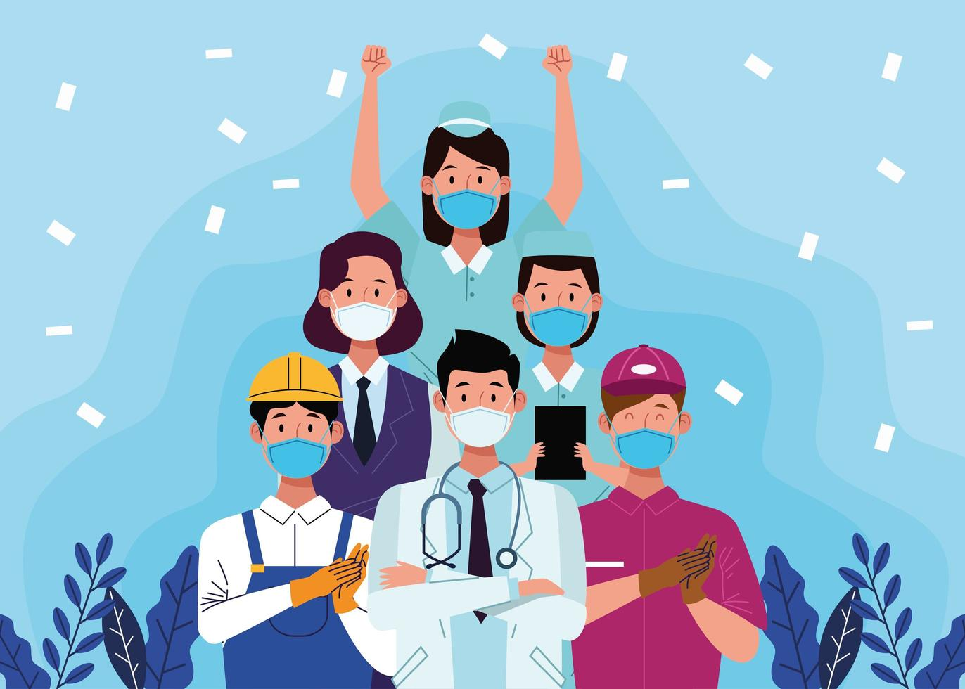 Gruppe von Arbeitern mit Gesichtsmasken vektor