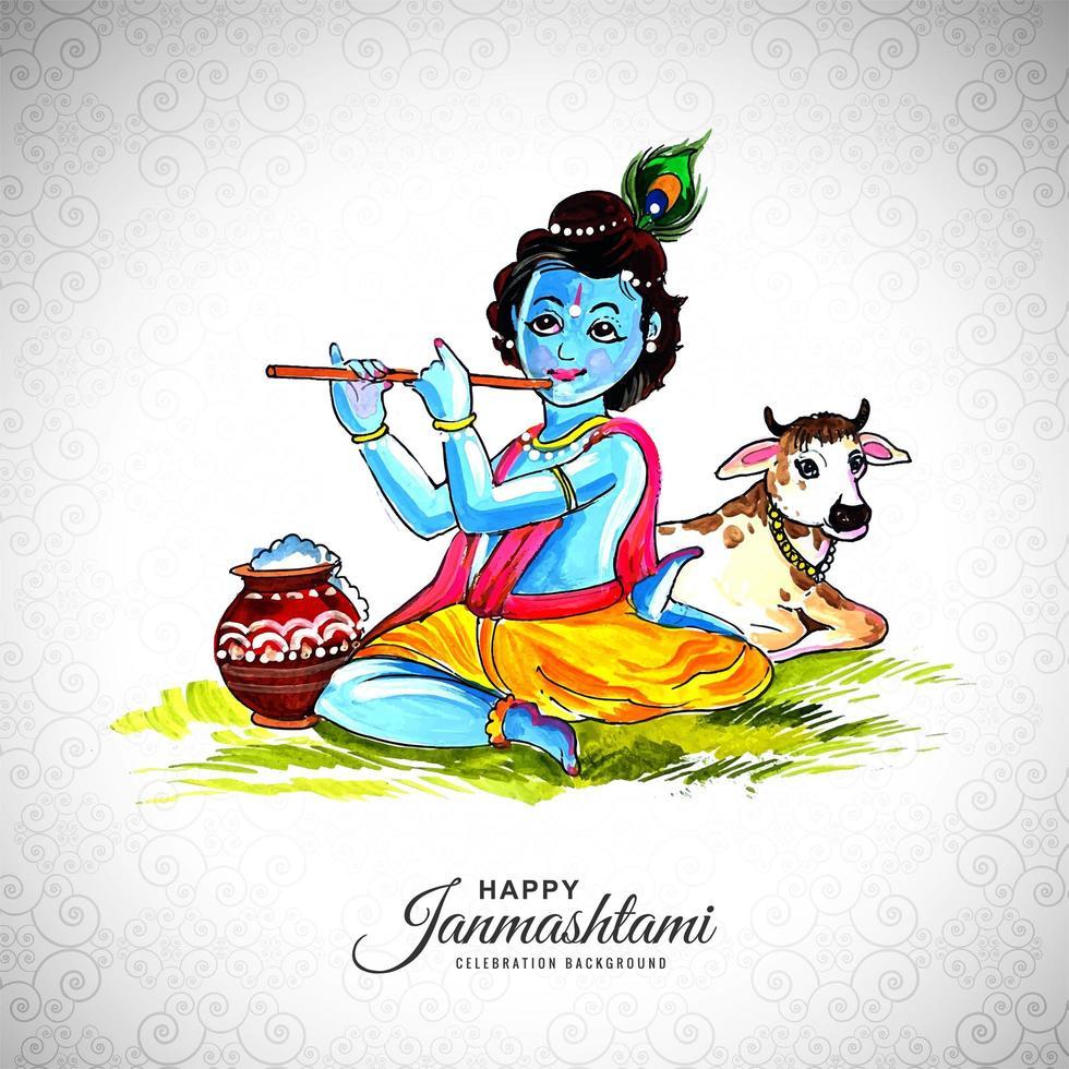 glad krishna sitter på marken och spelar flöjt janmashtami festival vektor