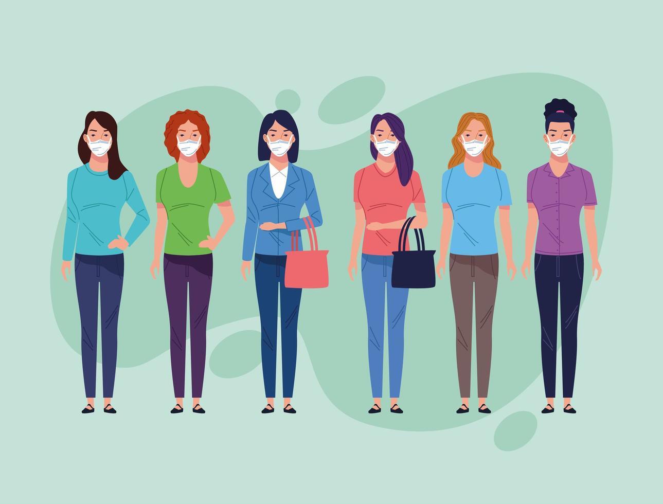 Gruppe von Frauen mit Gesichtsmaske für Coronavirus vektor
