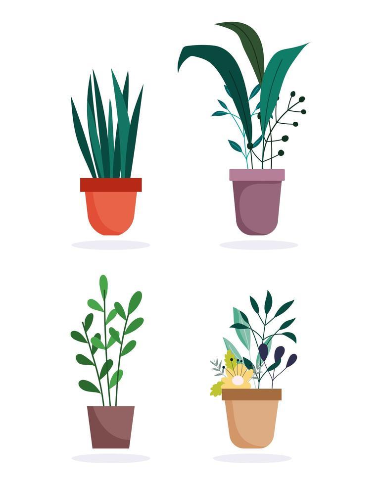 Topfpflanzen Icon Set vektor