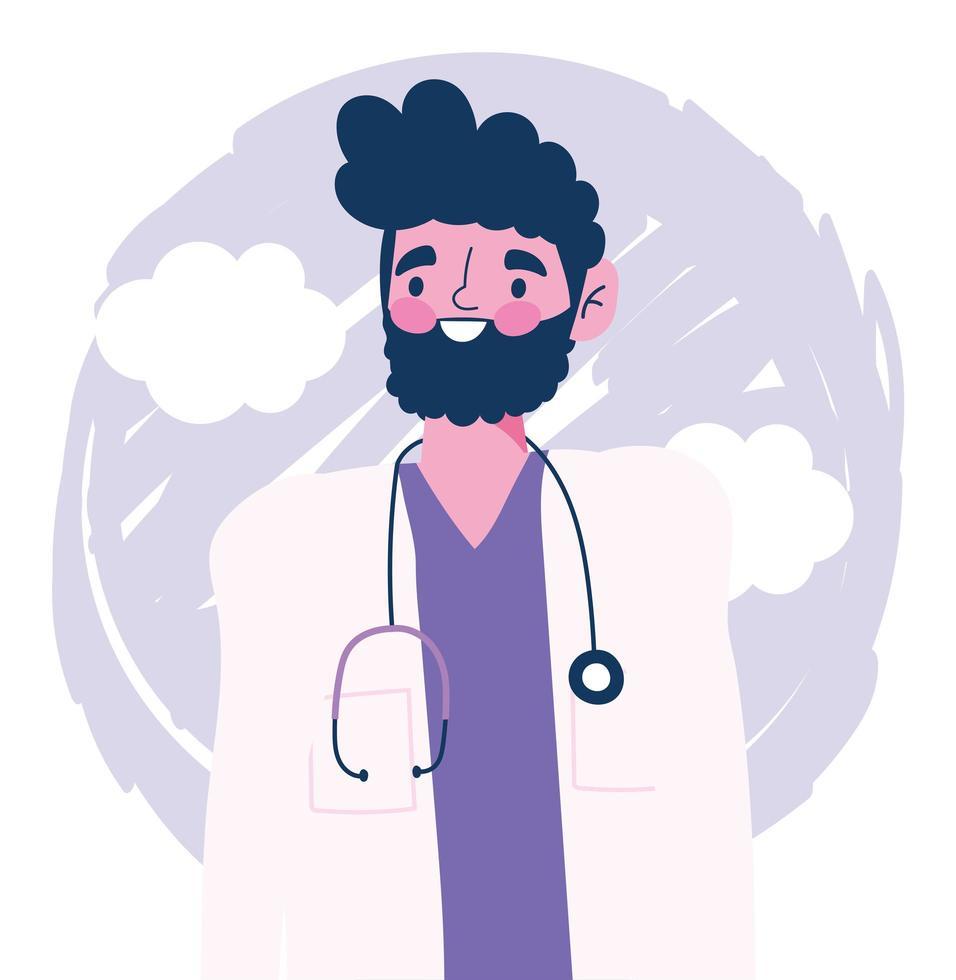 männlicher Arztcharakter mit Stethoskop-Avatar vektor