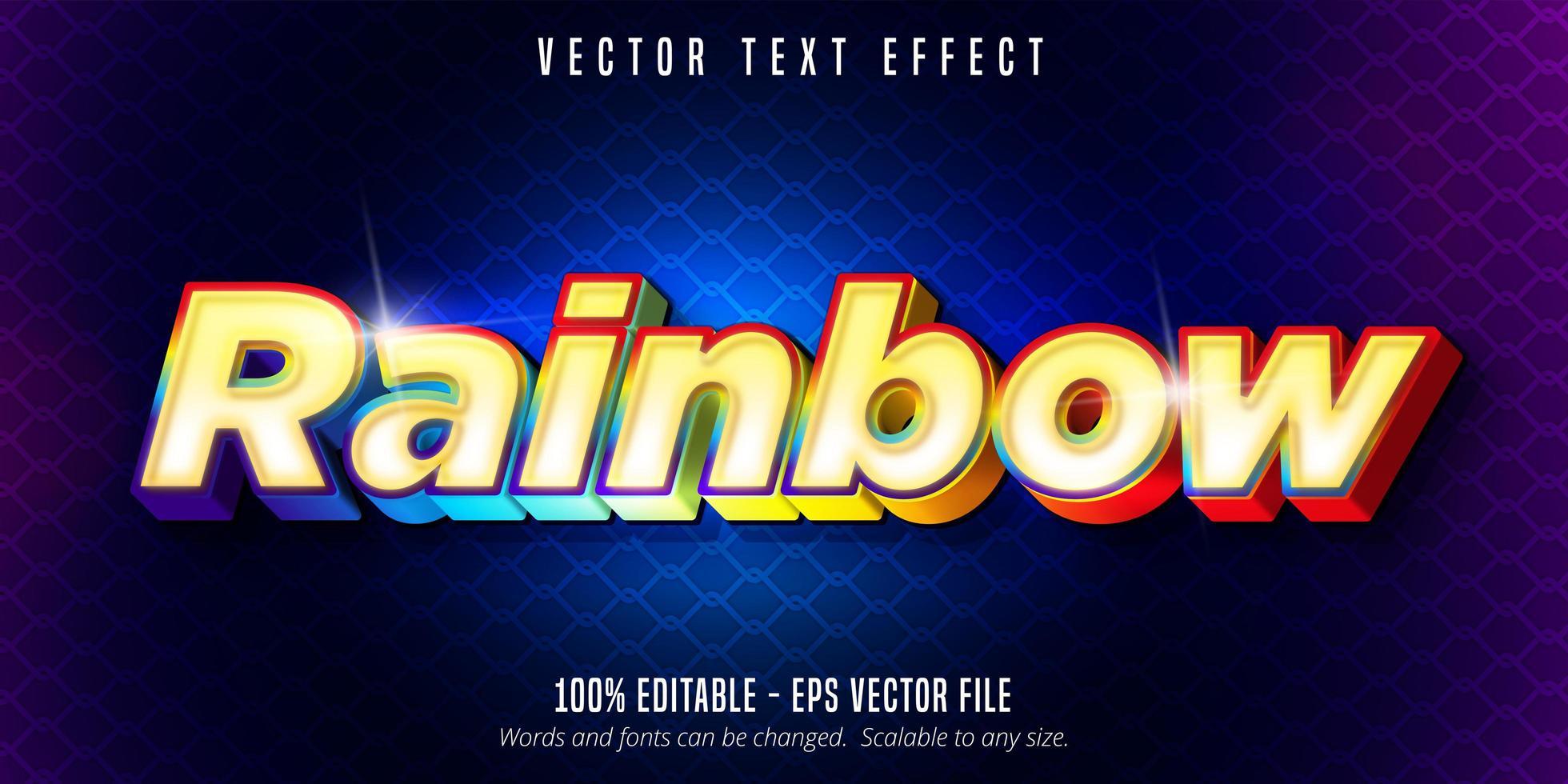 regnbågetext, glänsande färgglad texteffekt vektor