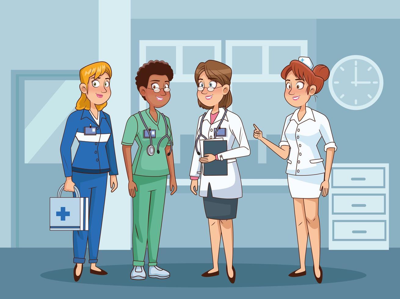 kvinnliga professionella läkare personal vektor
