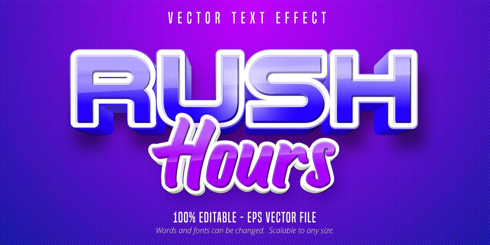 Rush Hour Text, Spielstil Texteffekt vektor