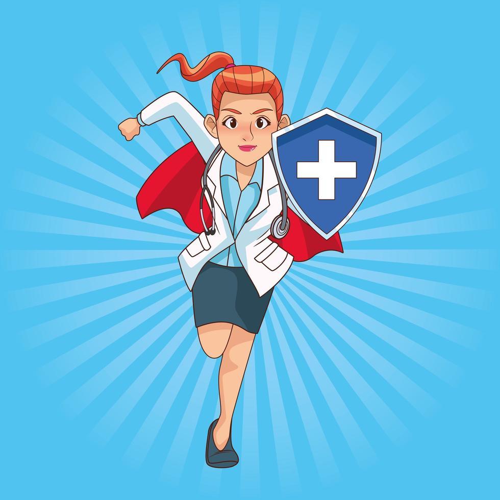 super kvinnlig läkare kör med sköld vektor
