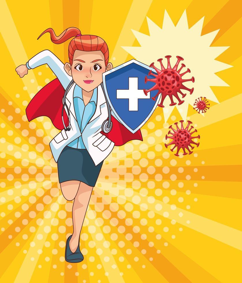 super kvinnlig läkare kör vs covid19 vektor